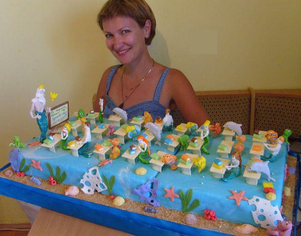 """Торт сделанный моими мамой и сестрой на выпускной для садика, который называется  """"Нептун """".  Хваст"""