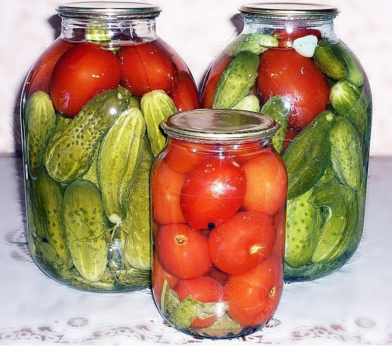 Рецепт помидоров с огурцами на зиму на 3 литровую банку