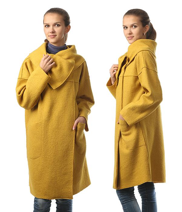 Пальто из вареной шерсти без подкладки