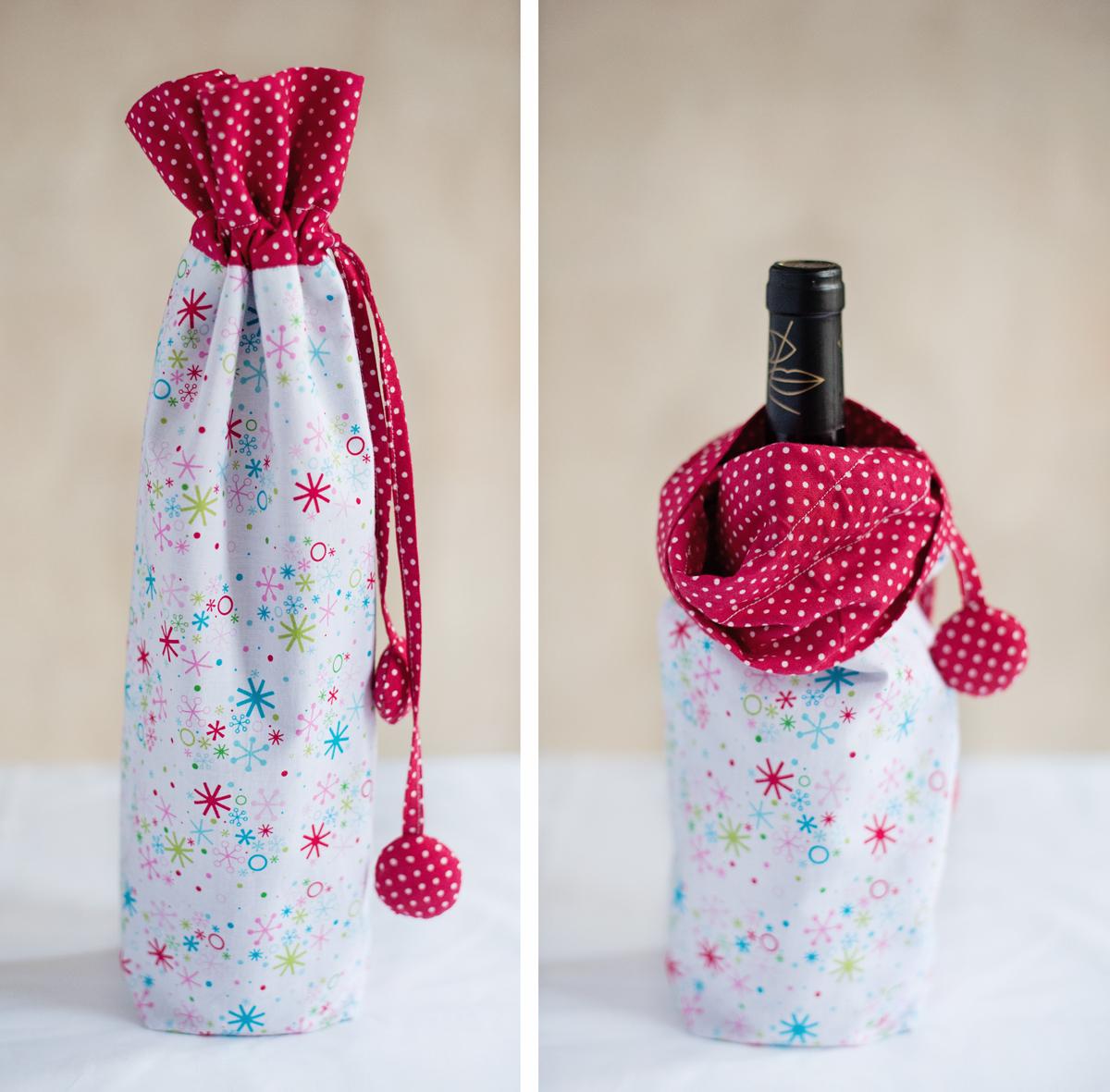 Как сшить мешочек для бутылки шампанского 89
