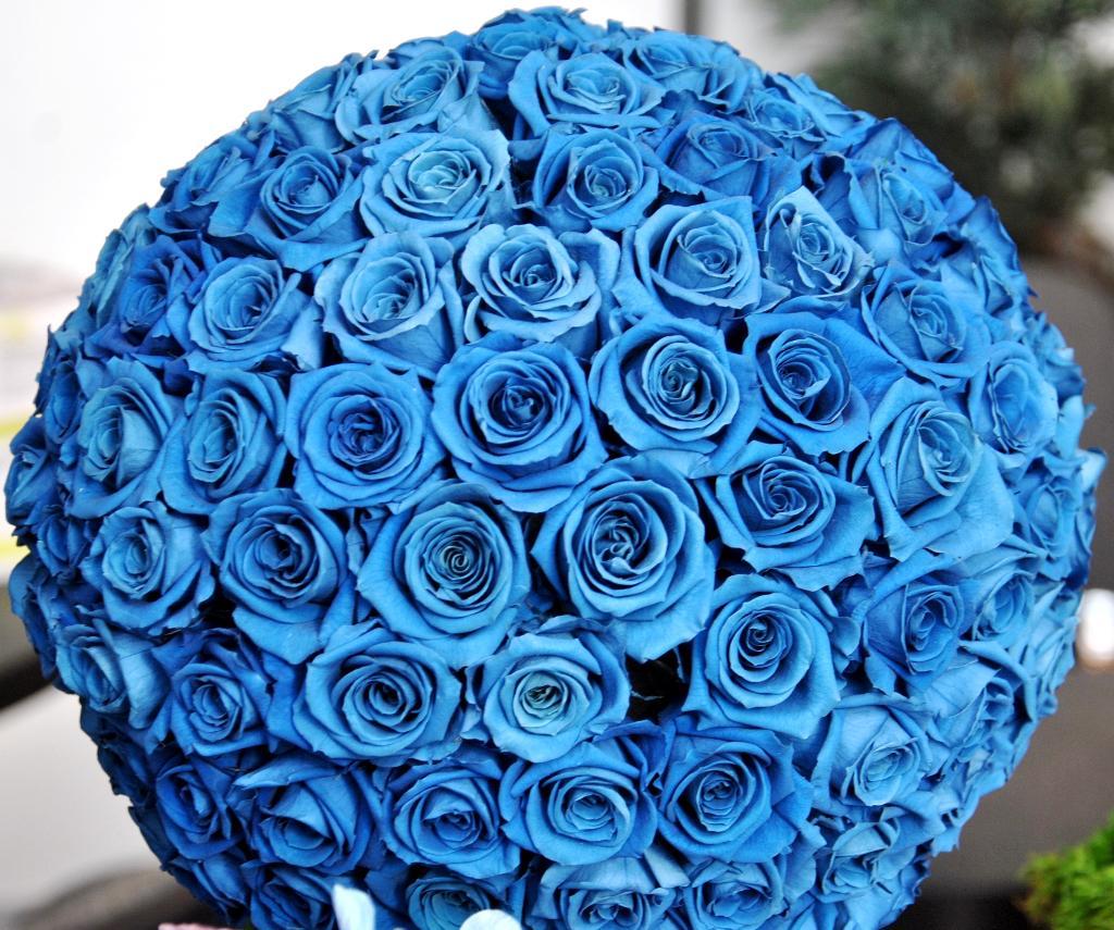 Открытка с синими розами 91