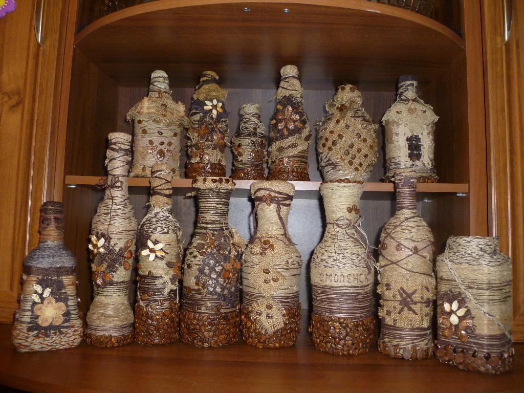 Бутылка декоративная своими руками фото