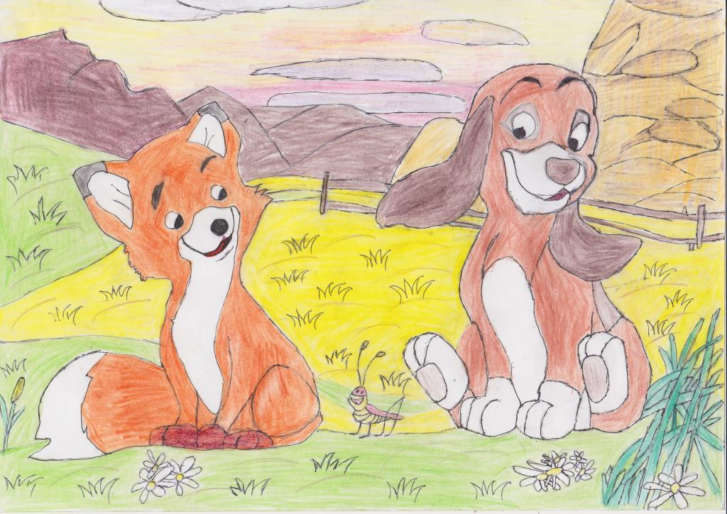 Как рисовать лису и собаку