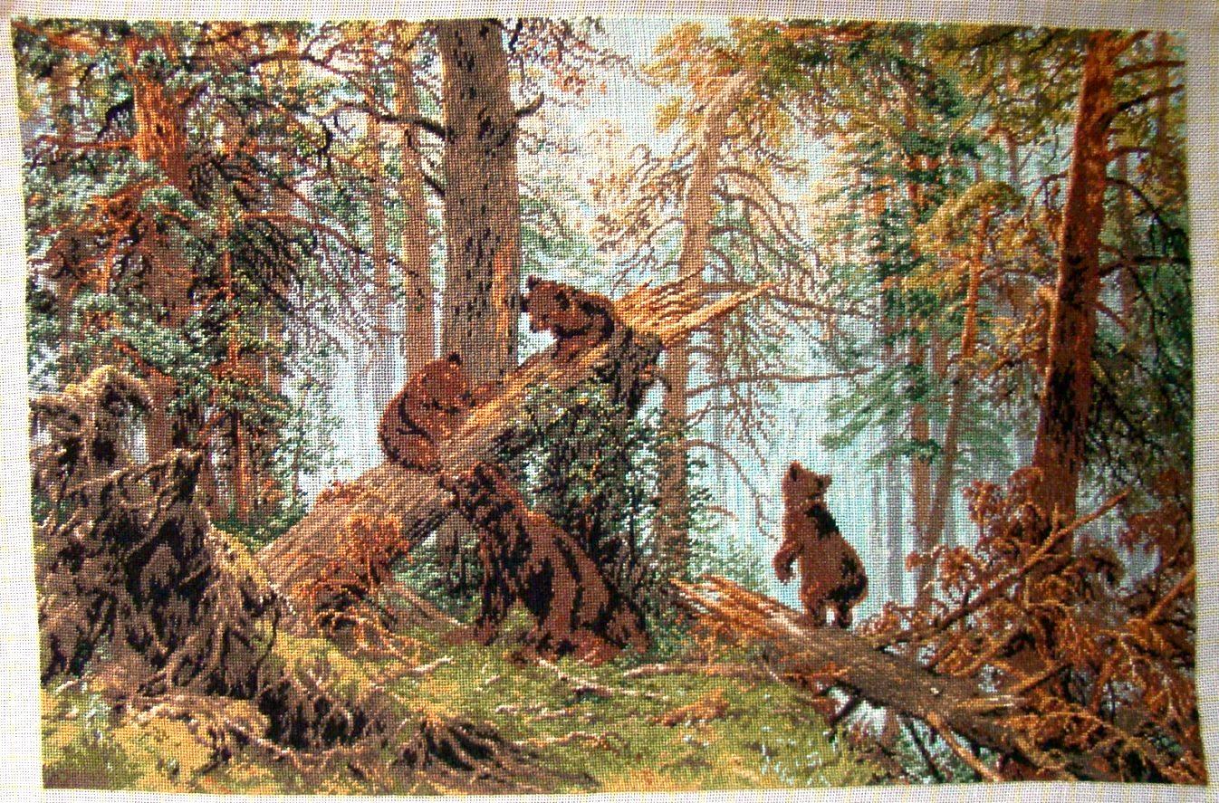 Утро в сосновом лесу вышивка