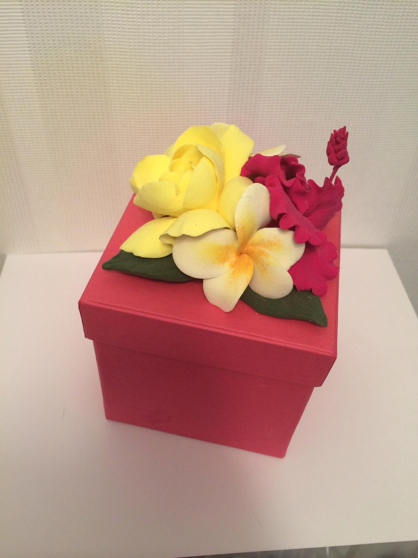 Подарочные цветы в коробке своими руками