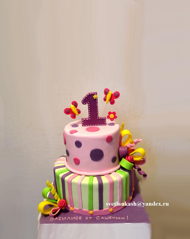 Двухъярусный торт на годик