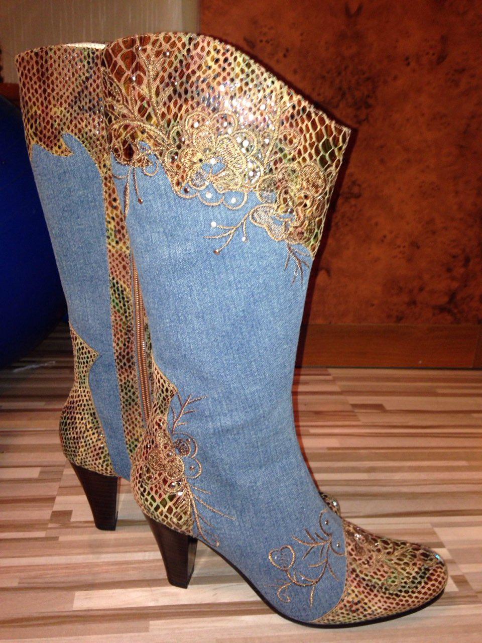 Женские сапоги из джинсы