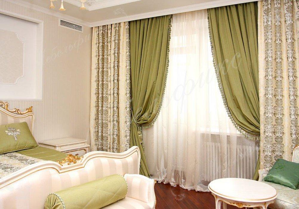 Зеленые шторы в спальню фото