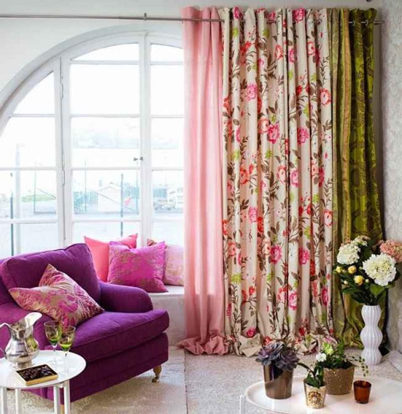 Шторы для зала с цветами
