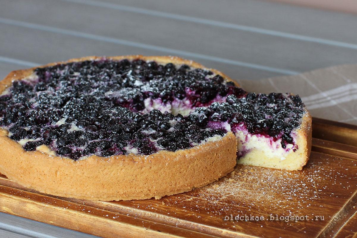 Пирог с творогом и черникой. Сладкое