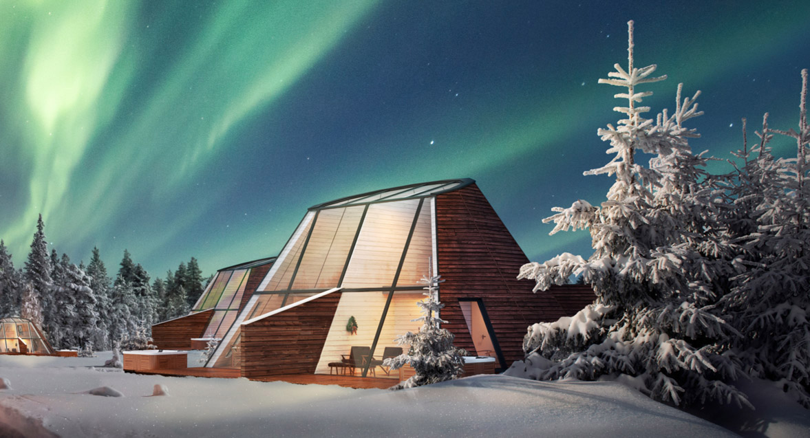 Новые дома из стекла в деревне Санта-Клауса