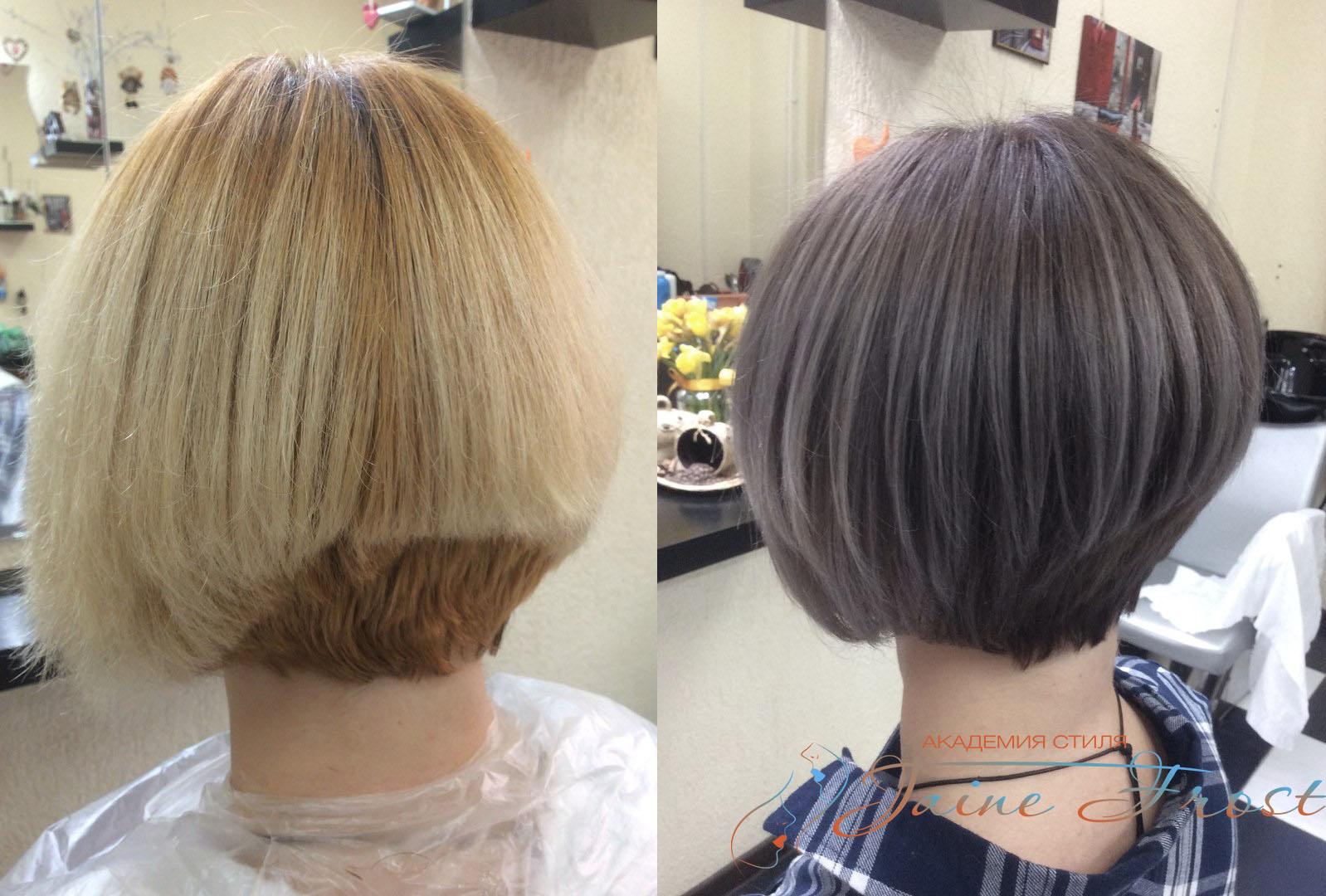 Модное окрашивания волос на боб каре