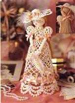 Топиарий своими руками. wpid TSUQ7euzw8A Куклы дамы, связанные крючком.  Цветок из салфетки.  Топиарий из салфеток.