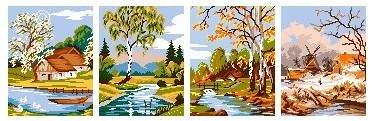 схемы вышивка крестиком Четыре сезона погода, пейзаж, коладж.