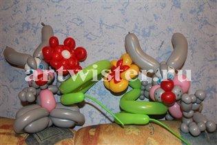 Забавные фигурки и подарки из воздушных шариков.