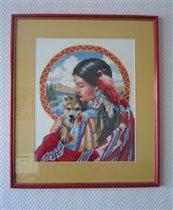 Индианка с волчонком