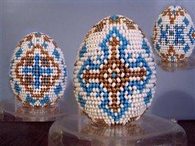 Бисерное яйцо ' Бело-голубое '