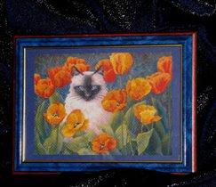 кот в тюльпанах