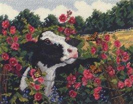 корова в цветах