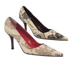 Туфли ГАЗЕТНЫЕ красно-бежевые