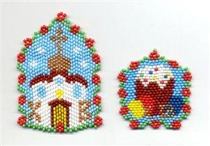 Пасхальные сувениры - подвески 'Церковь' и 'Пасхальный кулич'.