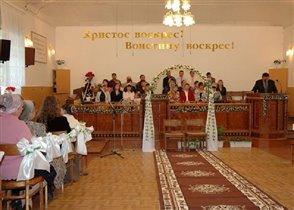 Оформление зала в Доме молитвы