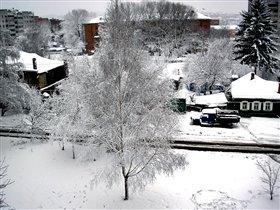 на 23 февраля снегом напорошино
