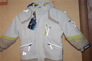 9139 сноуборд.куртка 98р белый с бежевым