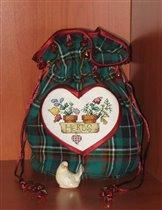 сердечковый мешочек - подарок от Ларисы-Лорхен (в рамках совместного проекта)