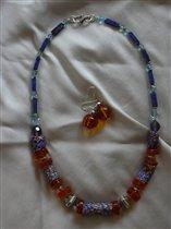 Бусы из Trade Beads с янтарем и серебром