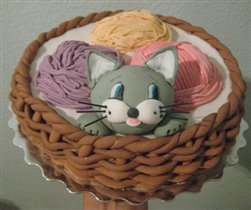 Торт 'Котик в корзине'