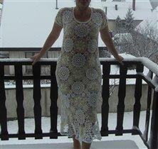 Летнее платье,связанное зимой.