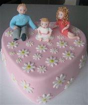 Торт Семья на ромашковом сердце.
