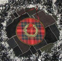 рождественский веночек (вышивка лентами )