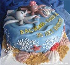 Торт Коралловая свадьба