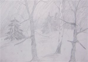 Зимний лес (простой карандаш, бумага)