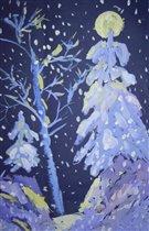 Снегопад в ночном лесу (гуашь, бумага для пастели)