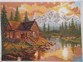 Наборы вышивки крестом горы дома пейзаж