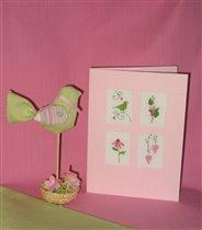 весенняя открыточка с птичкой