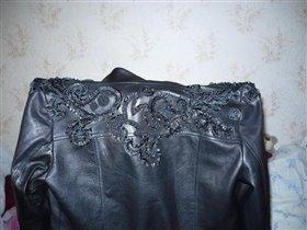 вышивка кожанными лентами на куртке