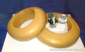 Торт Свадебные кольца и мишки