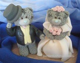 Торт Свадебные мишки Тедди