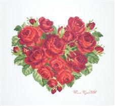 Сердце из роз EMS. Подарок мужу к розовой свадьбе