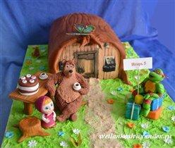 Торт Ниндзя-черепашка в гостях у Медведя и Маши