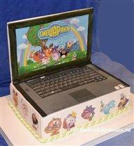 Торт Ноутбук со Смешариками.