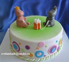 Торт Муми тролли с подарком