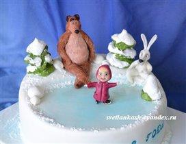 Торт Маша и медведь на льду