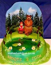 Торт Маша и медведь на рыбалке