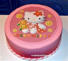 Фото-торт Китти в красном