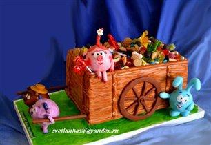 Торт Смешарики с тележкой сладостей. Вес 6 кг.